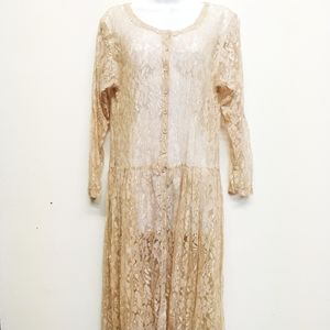 Starina Vintage Nude Sheer Lace Button Up Dress S